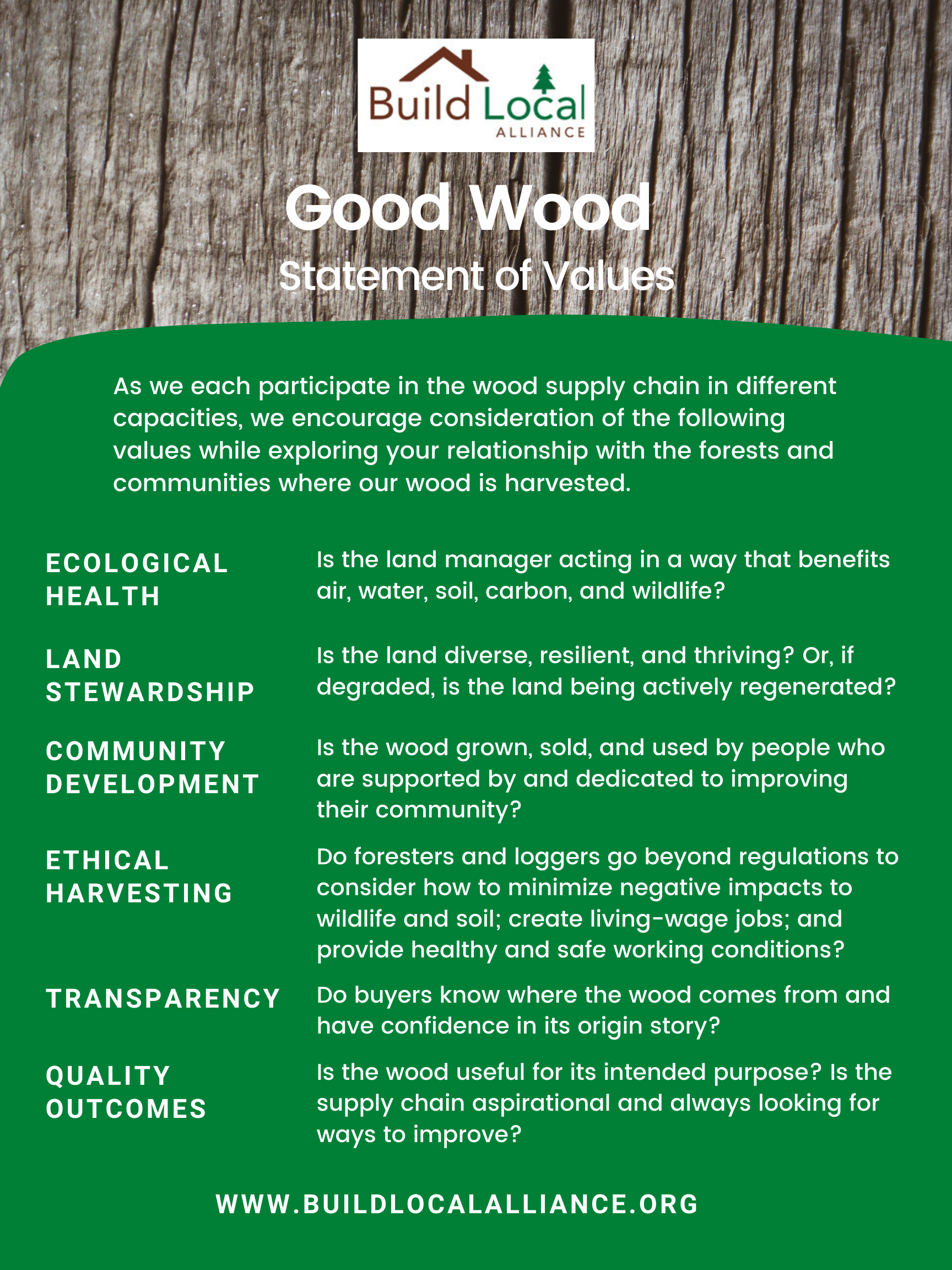 Good Wood Statement of Values